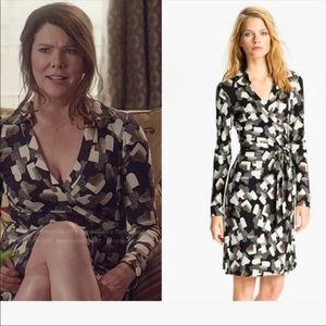 DVF Heart Print Silk Wrap Dress